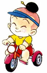 รููปการ์ตูนเด็กปั่นจักยานสามล้อ